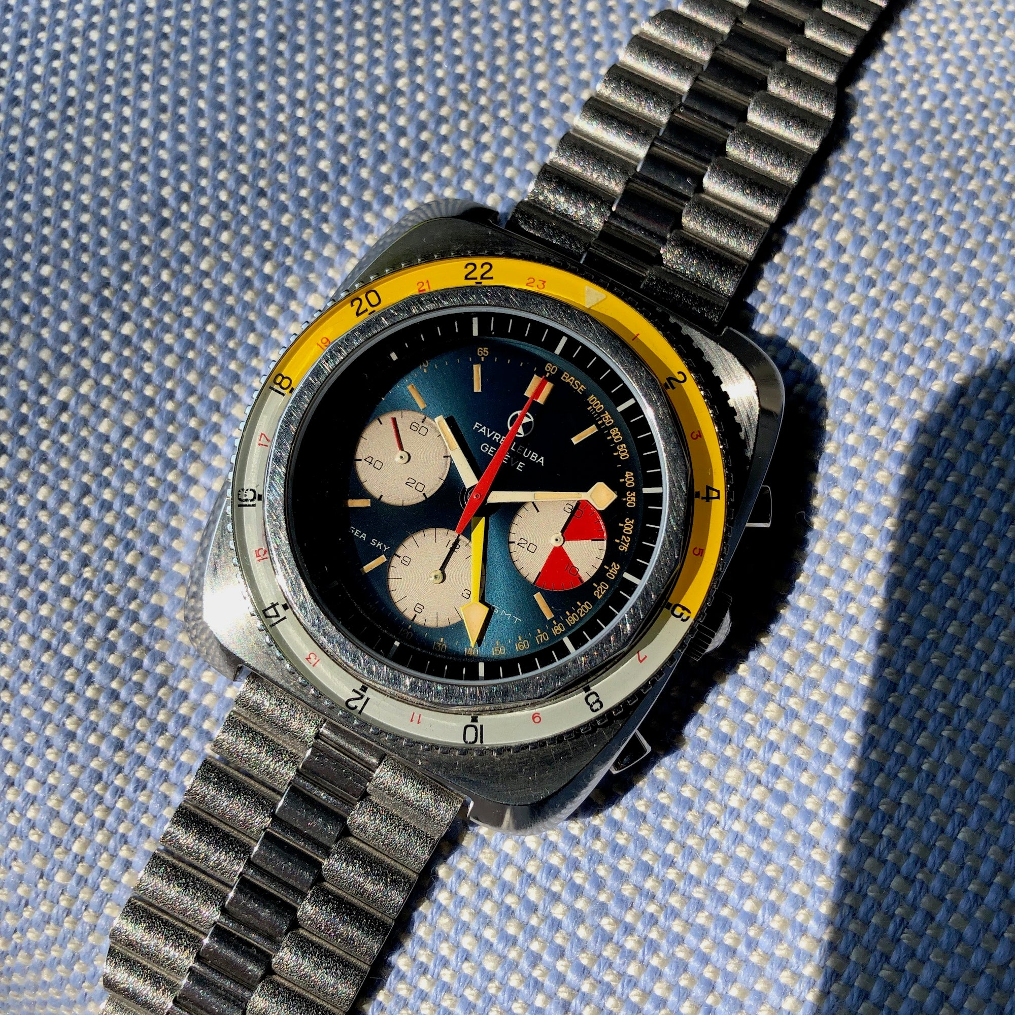 Vintage Favre Leuba Sea Sky GMT 33053 Valjoux 724 Chronograph Wristwatch - Hashtag Watch Company
