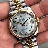 Rolex Datejust 116233 Two Tone Steel Gold Roman MOP Automatic Wristwatch