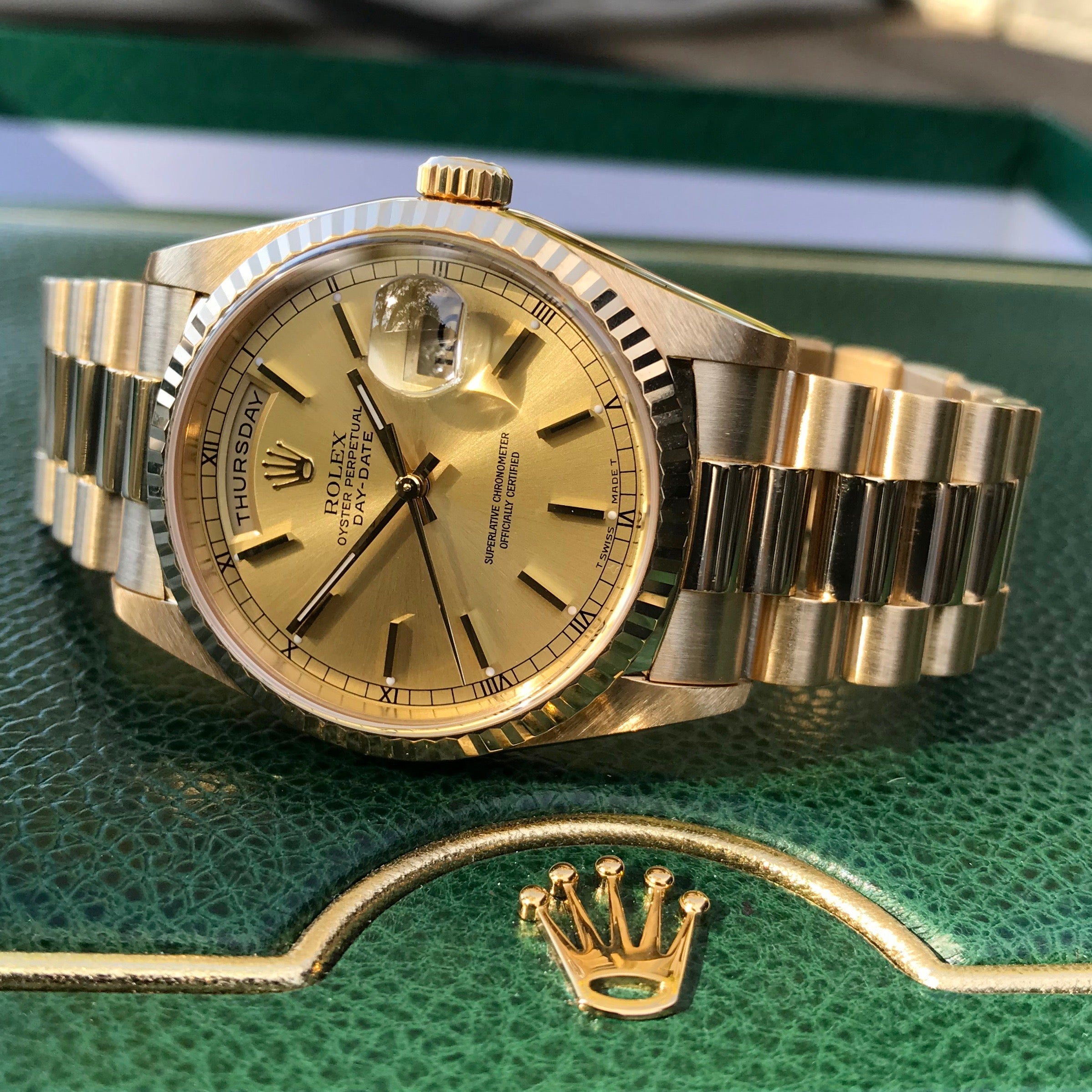 "Rolex President 18238 Day Date 18K Yellow Gold Champagne Stick ""A"" Serial 1999 Box Papers MINT - Hashtag Watch Company"