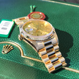 Rolex President 18238 Day Date 18K Yellow Gold Champagne Stick