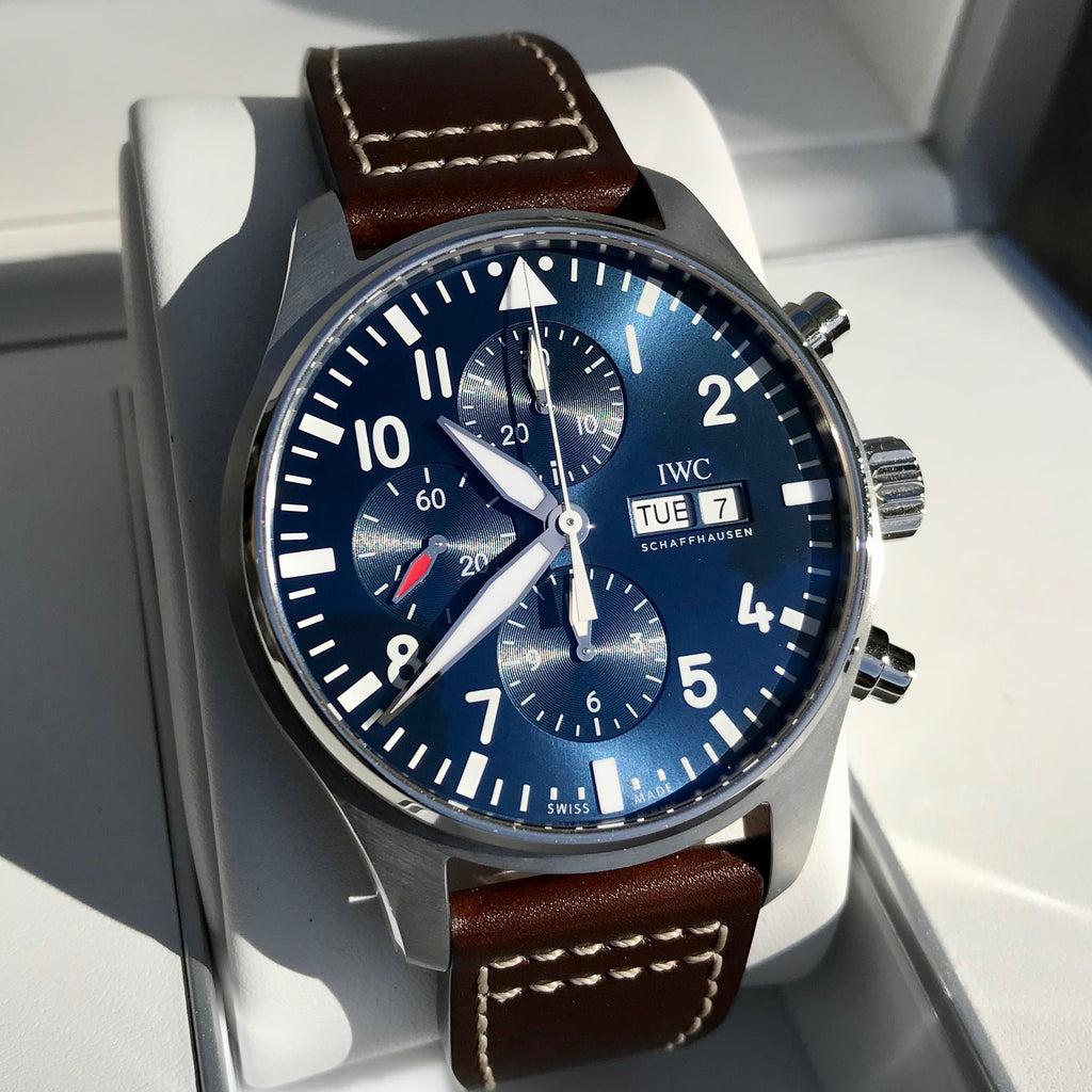 IWC Pilot IW377714 LePetit Prince Automatic Chronograph Day Date 43mm Midnight Blue Wristwatch Box Papers