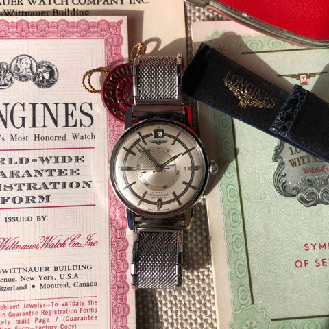 Vintage Longines Conquest Power Reserve 9031 Automatic Cal. 294 Steel Wristwatch Box Papers
