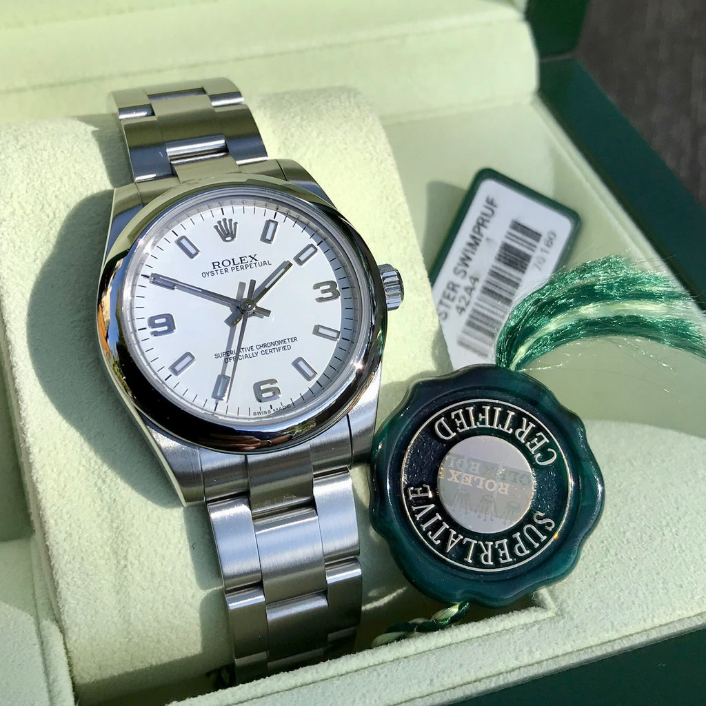 Rolex Oyster Perpetual 177200 White Arabic Numerals Stainless Steel Ladies Scrambled Serial Wristwatch