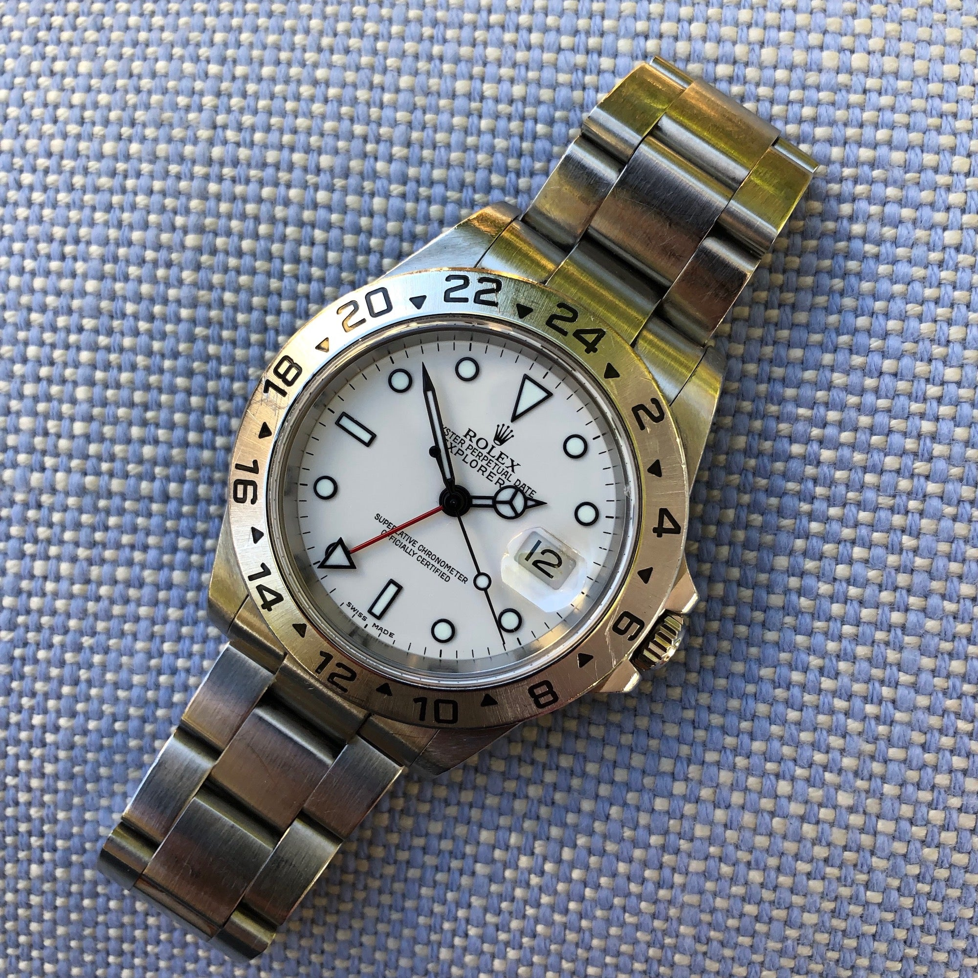 Rolex Explorer II 16570 White Stainless Steel GMT Oyster D Serial Wristwatch Circa 2005