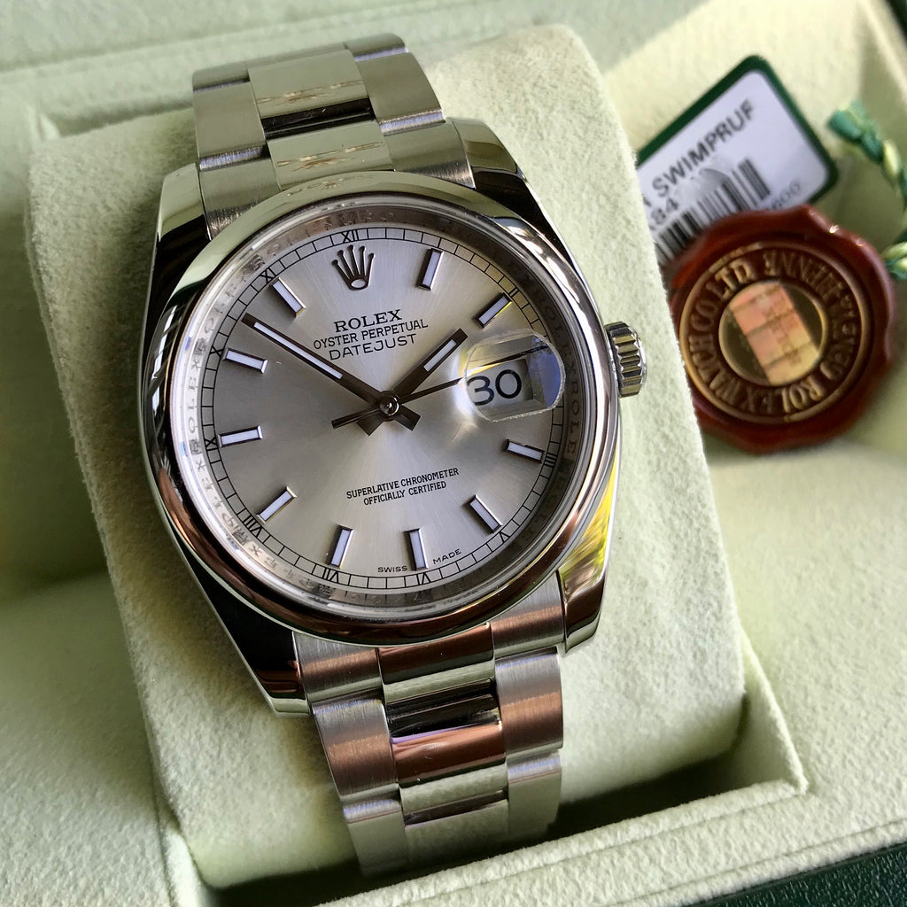 Rolex Datejust 116200 Oyster Perpetual Silver Stick Automatic Caliber 3135 Wristwatch