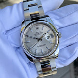 Rolex Datejust 116200 Oyster Perpetual Silver Stick Automatic Caliber 3135 Wristwatch - Hashtag Watch Company