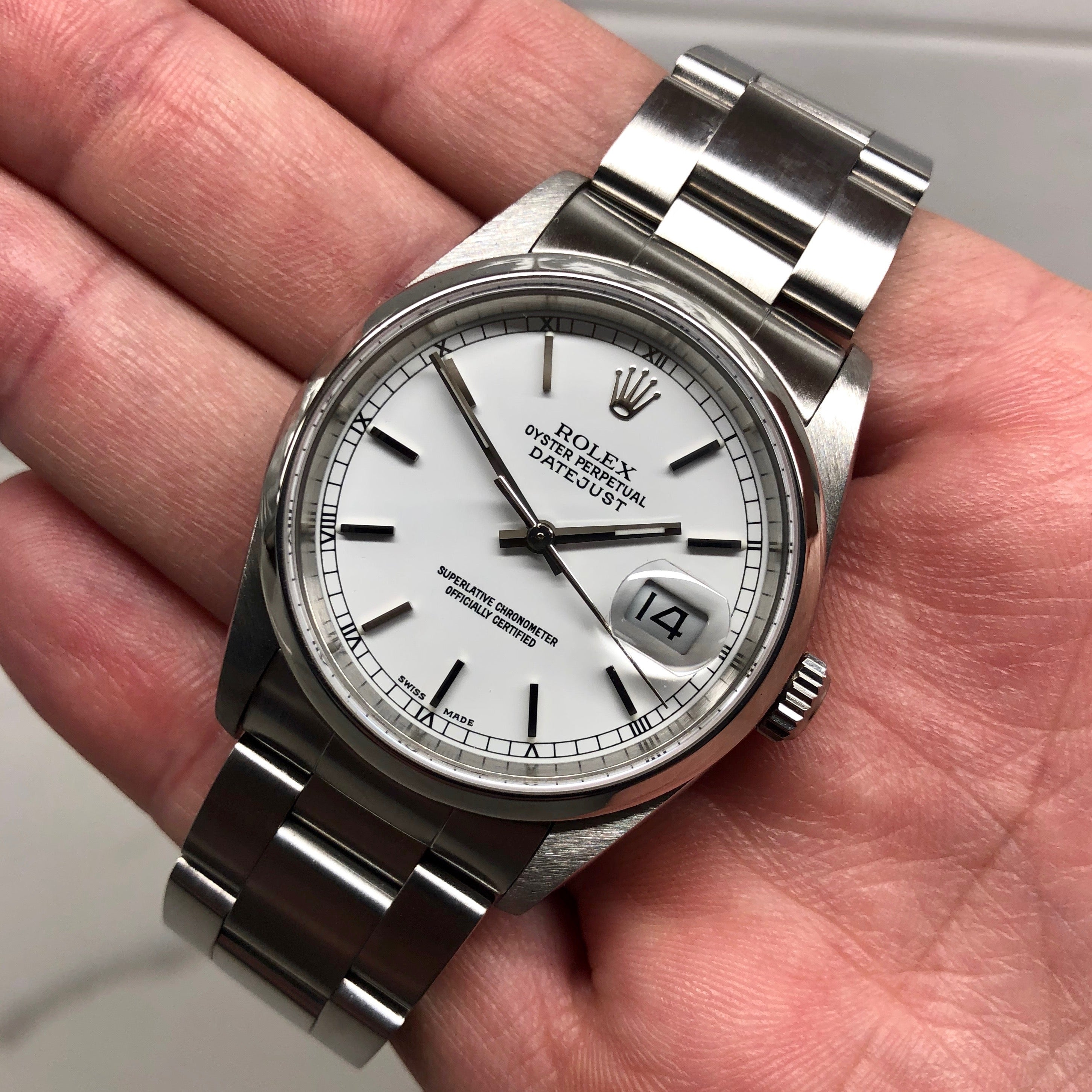 "Rolex Datejust 16200 Oyster Perpetual Cal. 3135 White Stick ""Y"" Serial Wristwatch - Hashtag Watch Company"