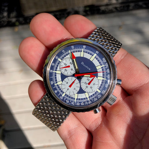 Vintage Bulova Stars And Stripes Valjoux 7736 Steel Chronograph Wristwatch