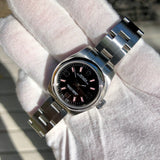 Rolex 176200 Oyster Perpetual Ladies Black Arabic Pink Markers 26mm Wristwatch Box Papers