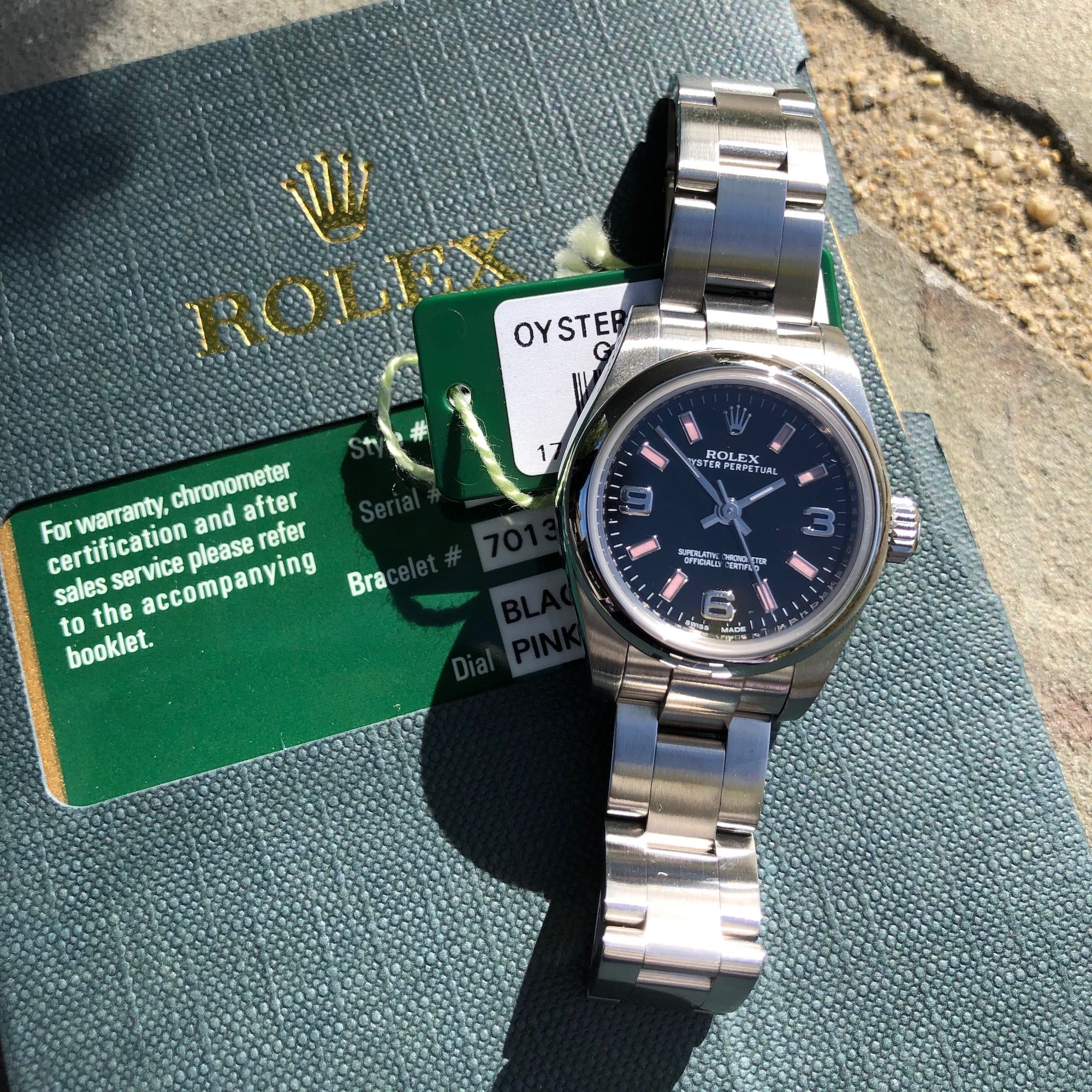 Rolex 176200 Oyster Perpetual Ladies Black Arabic Pink Markers 26mm Wristwatch Box Papers - Hashtag Watch Company