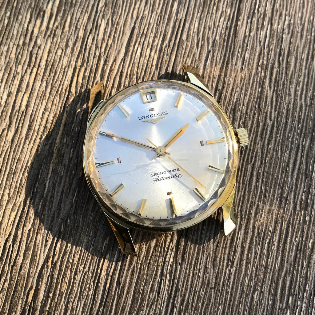 Vintage Longines Grand Prize Automatic 18K Yellow Gold Silver Date Wristwatch