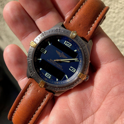Breitling F65062 Aerospace Repetition Minutes Blue Titanium Gold Quartz Leather 40mm Wristwatch