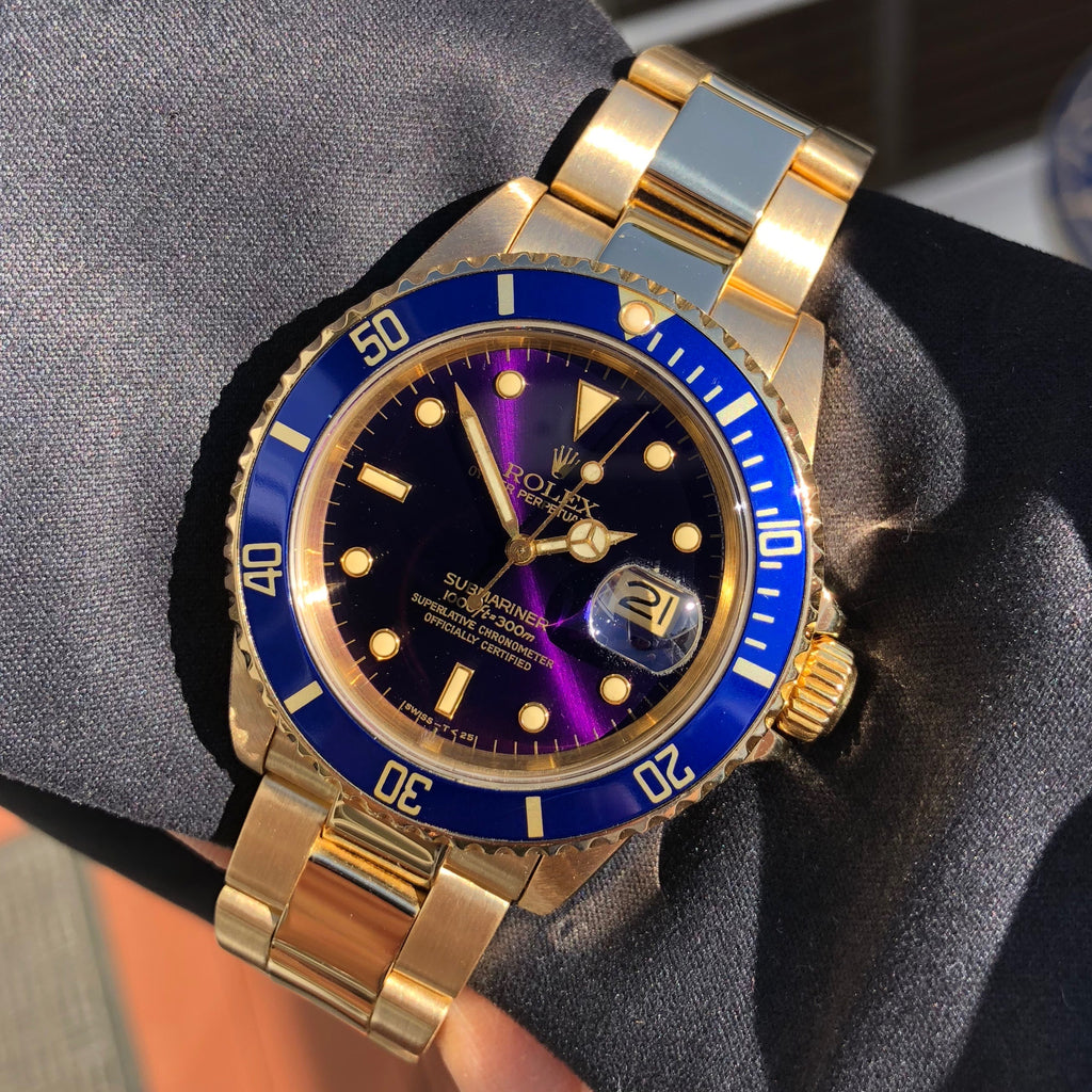 Vintage Rolex Submariner 16808 Purple Color Change 18K Yellow Gold Wristwatch Circa 1984