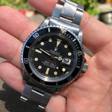 Vintage Rolex Red Submariner 1680 Mk VI Black Dial Wristwatch Circa 1973 Box Papers