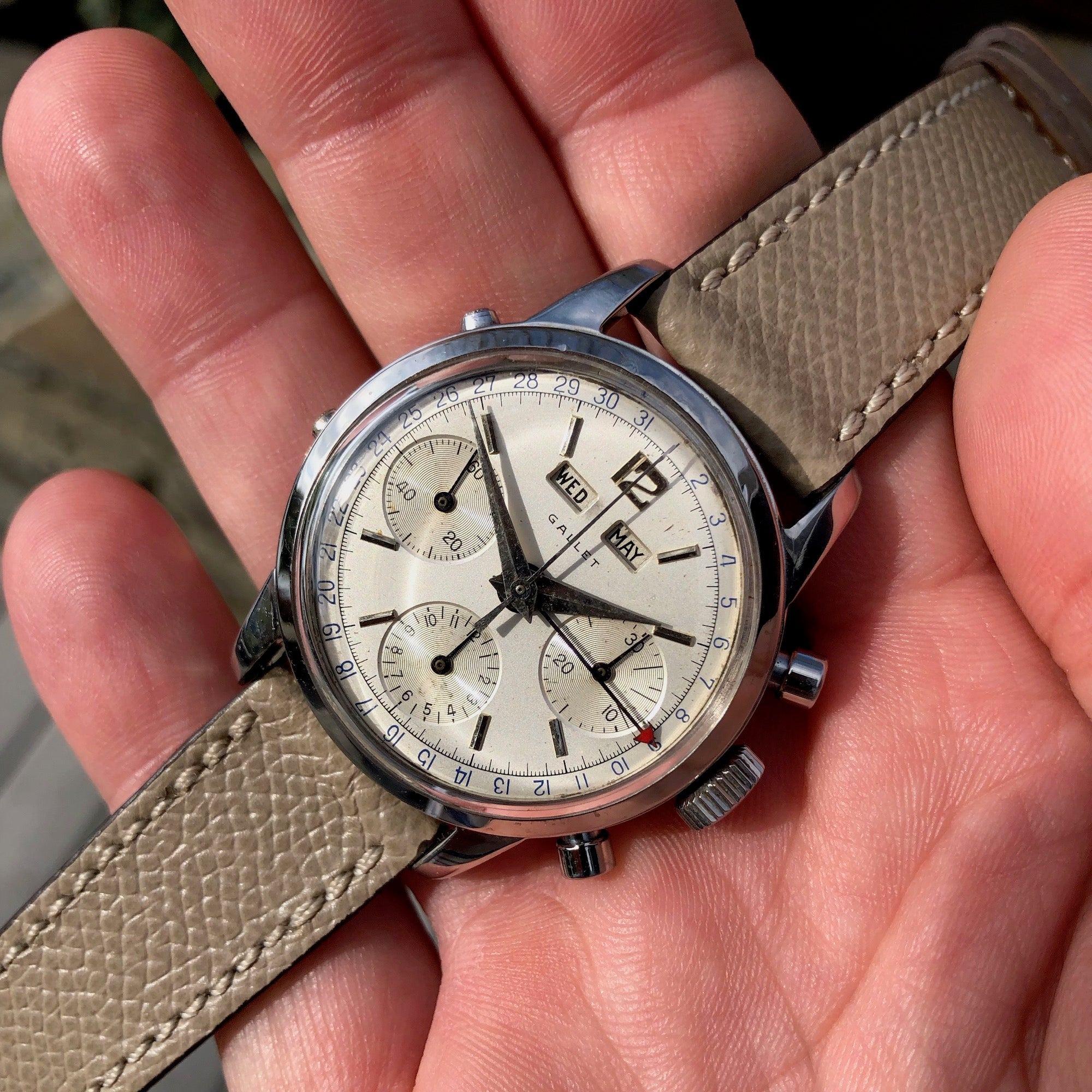 Vintage Gallet Multichron Steel Triple Date Chronograph 998 Valjoux 72 Manual Wind Wristwatch - Hashtag Watch Company