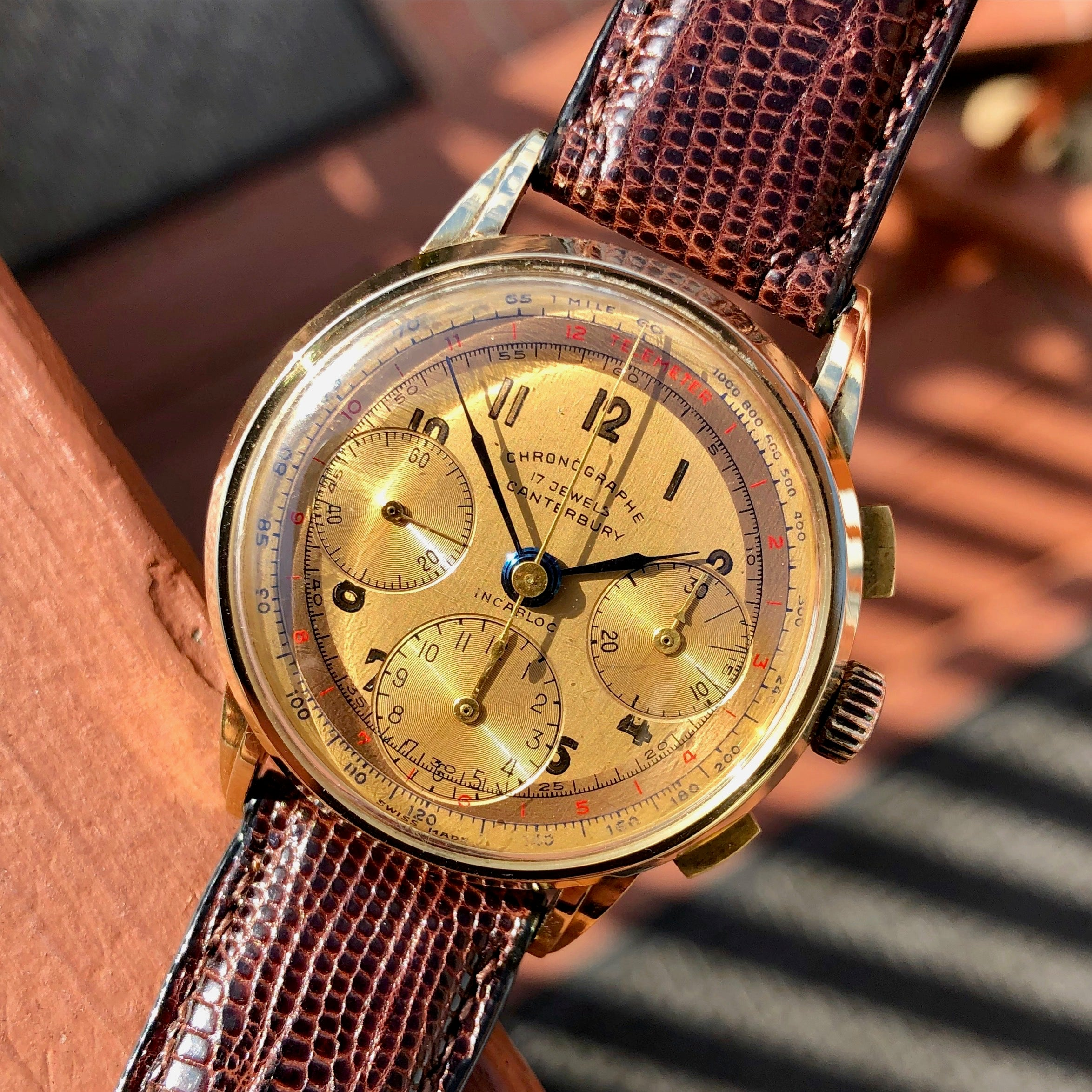 Vintage Canterbury 14K Yellow Gold Tri-Color Valjoux 72 Chronograph Wristwatch - Hashtag Watch Company