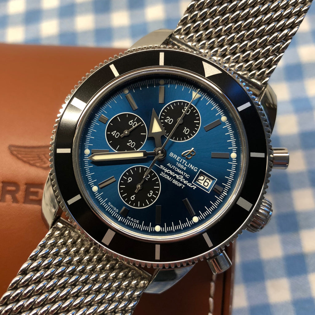 Breitling SuperOcean Heritage A13320 Blue Chronograph 46MM Automatic Watch