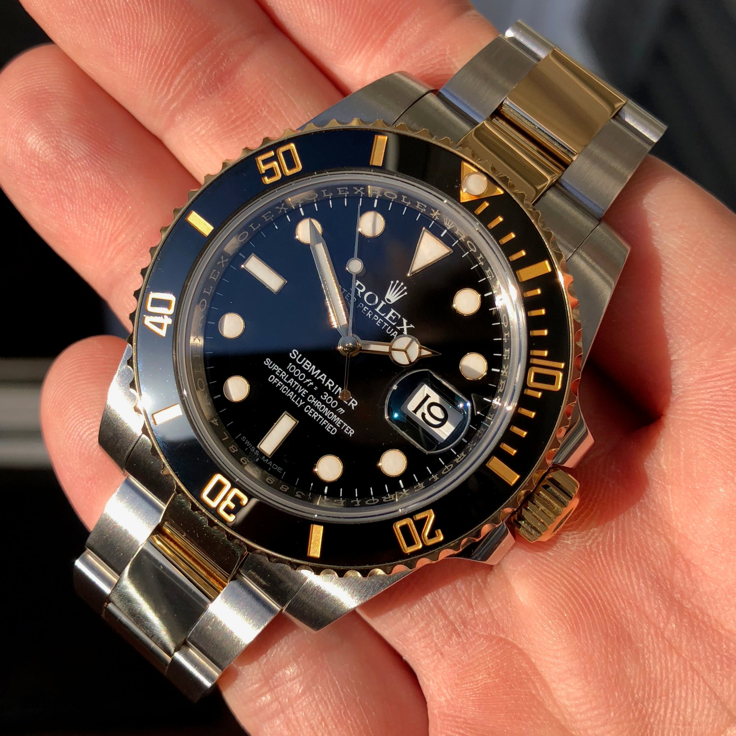 Rolex Submariner 116613 LN Black Two Tone Gold Steel