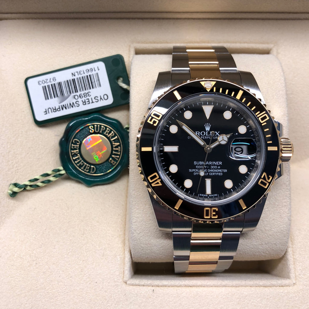 Rolex Submariner 116613 LN Black Two Tone Gold Steel Automatic Ceramic Wristwatch Box Papers