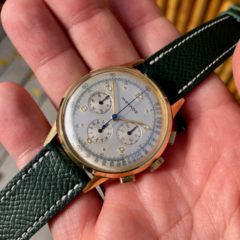 Vintage Movado Caliber 95 Yellow Gold 49036 Chronograph Manual 36mm Wristwatch