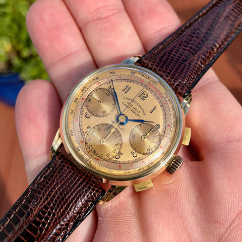 Vintage Canterbury 14K Yellow Gold Tri-Color Valjoux 72 Chronograph Wristwatch