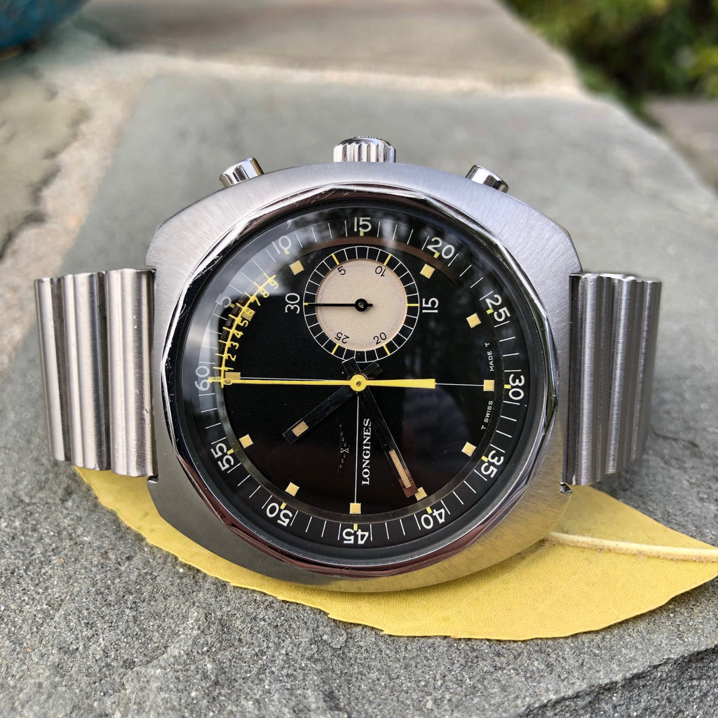 Vintage Longines Nonius 8225 Steel Chronograph 30CH Manual Wind Wristwatch Circa 1968