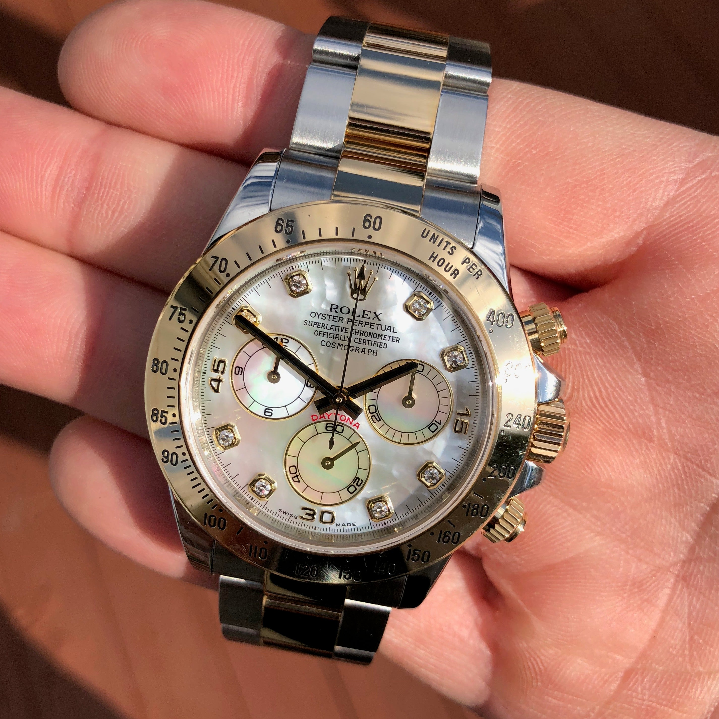 Rolex Daytona 116523 MOP Diamond Two Tone Steel Gold Automatic Caliber 4130 Wristwatch - Hashtag Watch Company