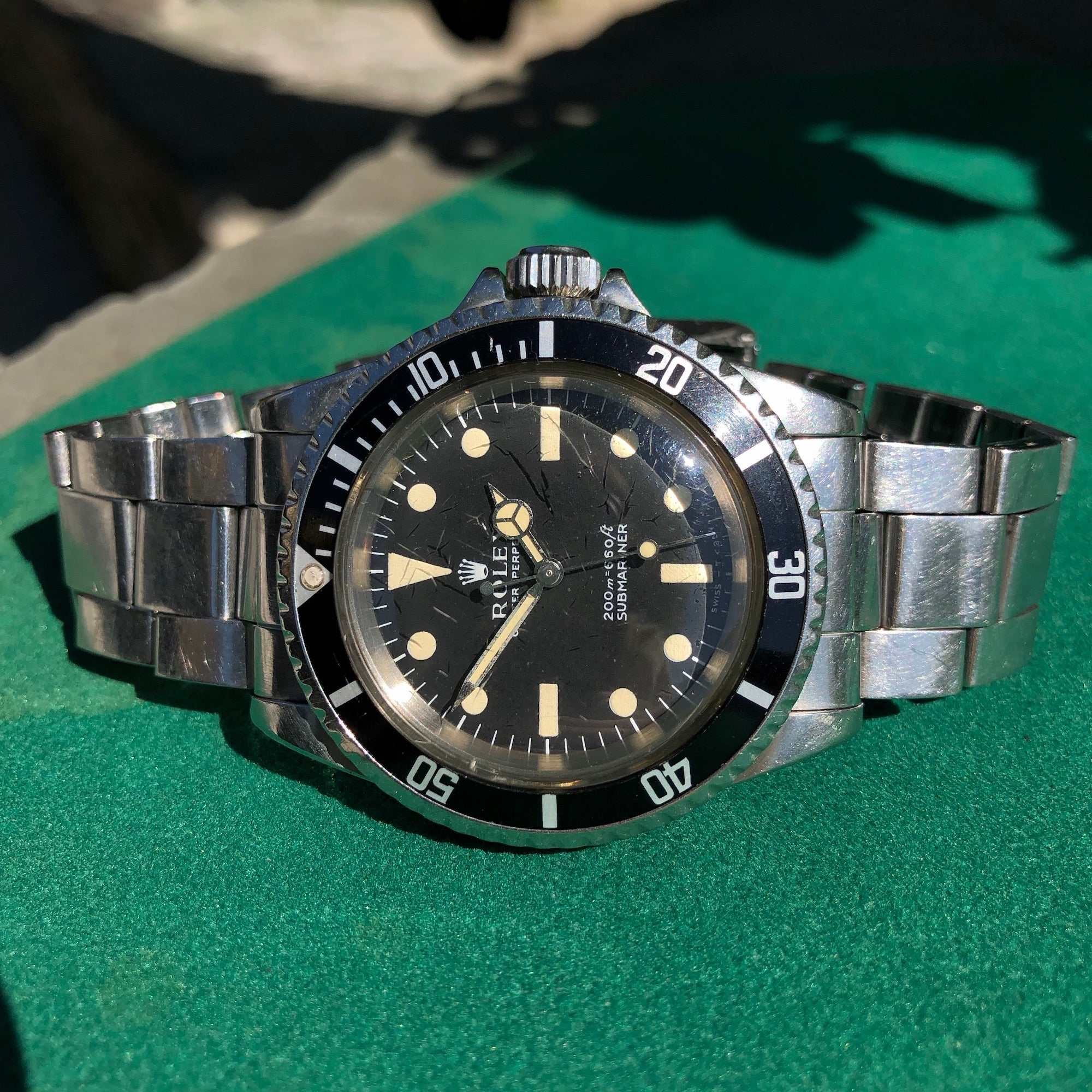 Vintage Rolex Submariner 5513 Meters Frist Dial Matte Black Wristwatch Circa 1967 - Hashtag Watch Company