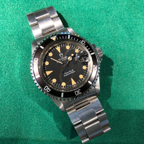 Vintage Tudor Submariner 76100 Lollipop Black Dial Tropical Wristwatch Papers Circa 1985 Unpolished