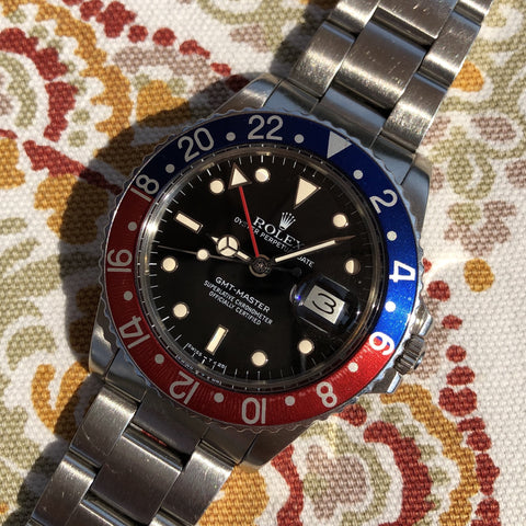 1982 Vintage Rolex GMT MASTER 16750 Black Jubilee Transitional Wristwatch Box Papers