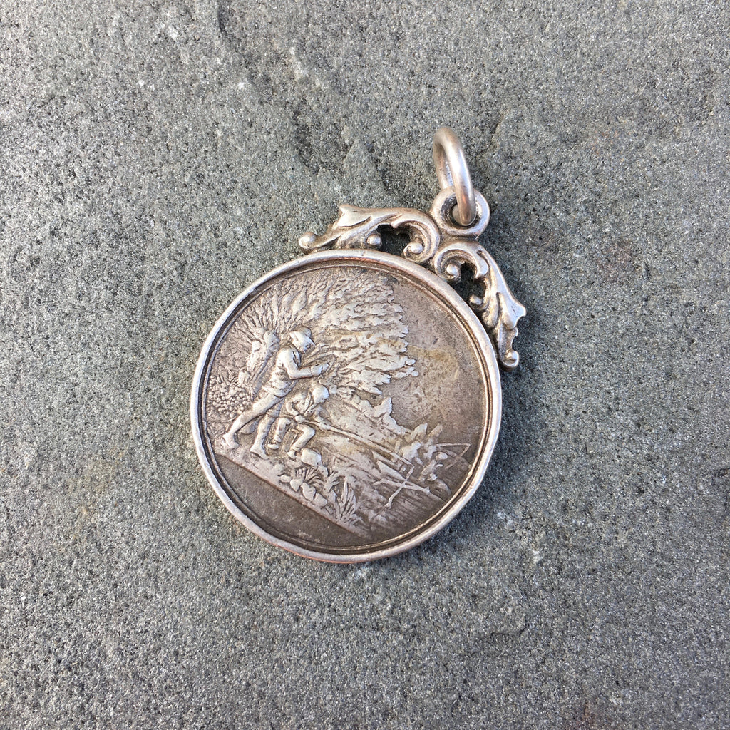 Vintage Antique Sterling Silver Fishing Pendant Award Circa Early 1900's