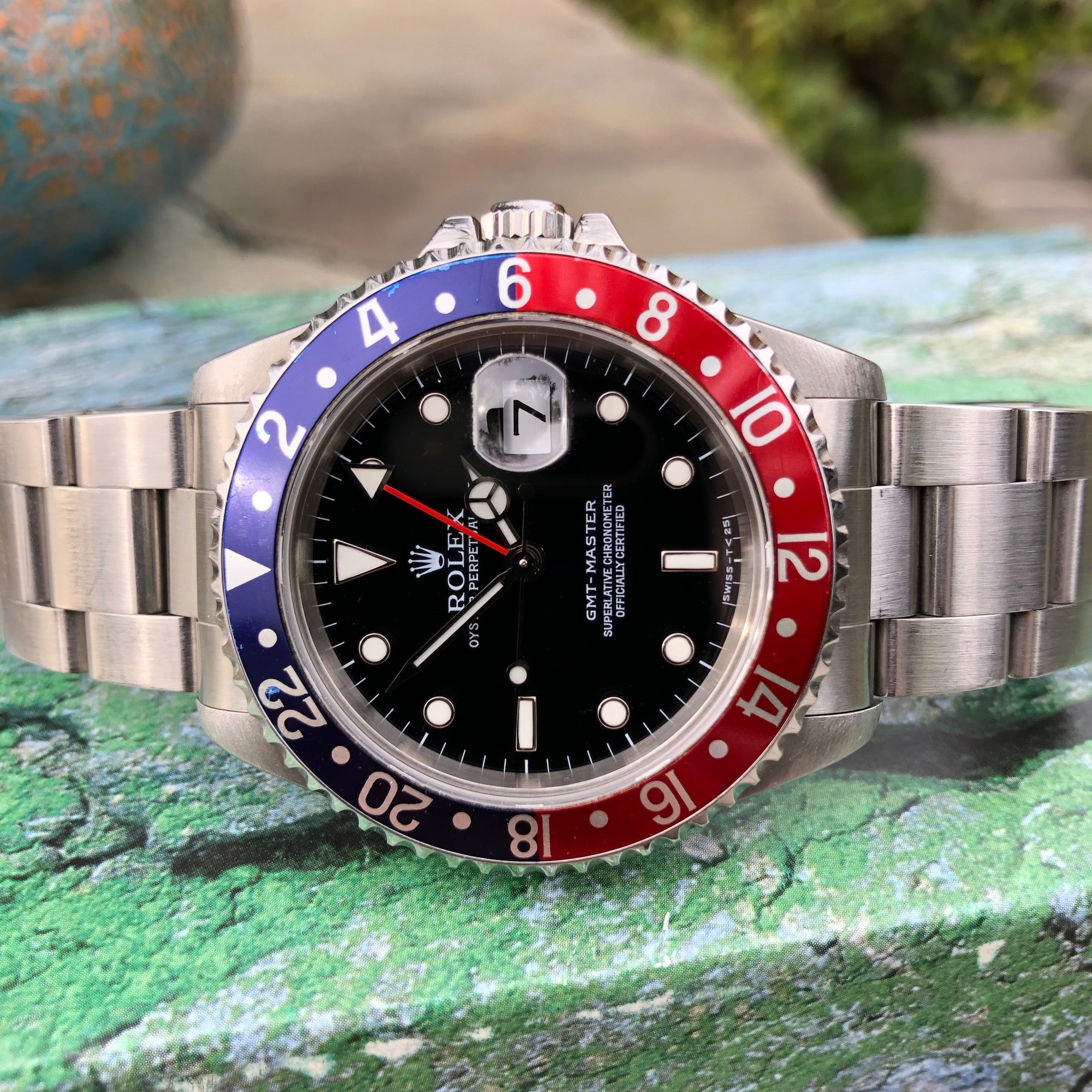 "Rolex GMT Master 16700 Stainless Steel Pepsi ""U"" Serial Caliber 3175 Wristwatch Box Papers Circa 1997 - Hashtag Watch Company"