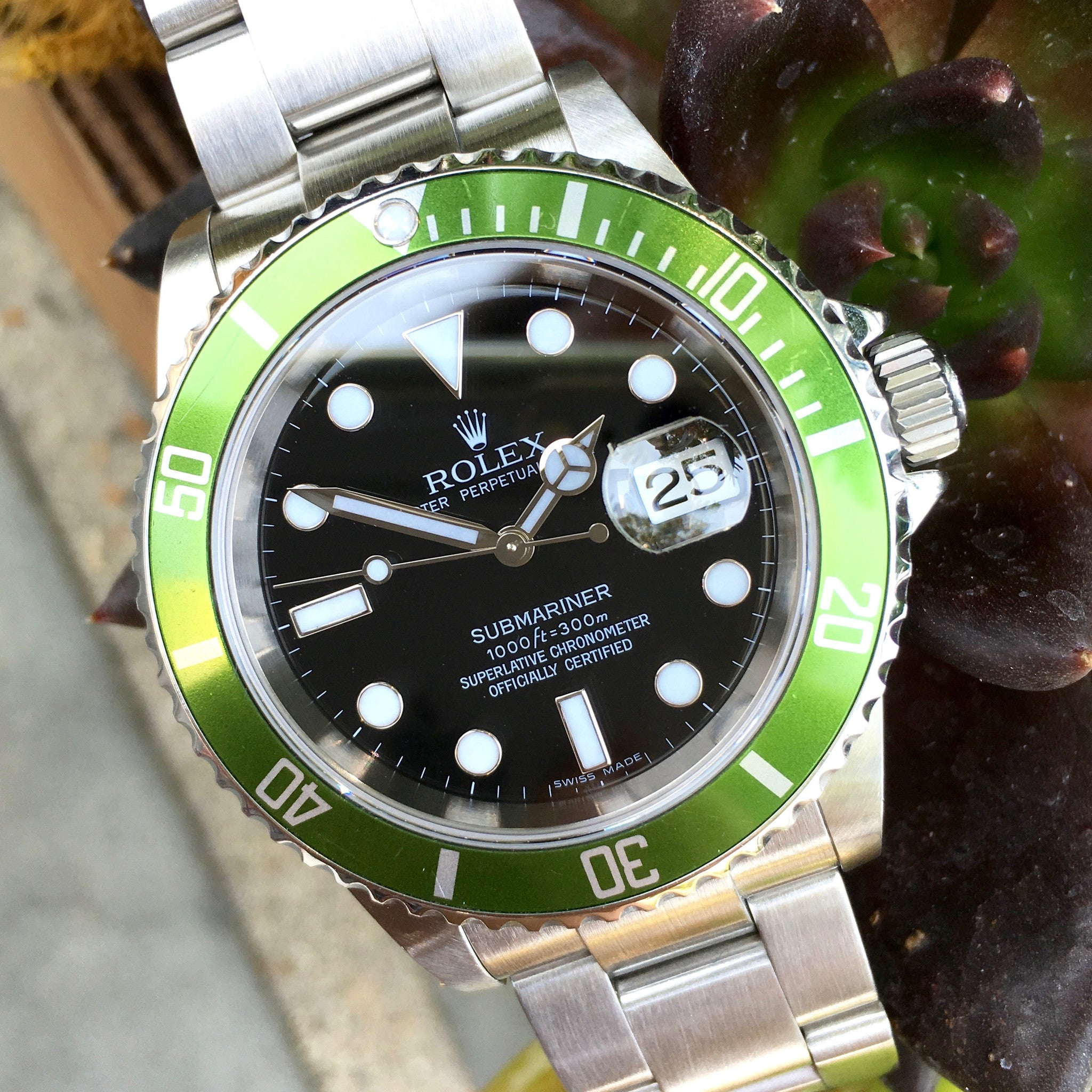 "Rolex Submariner 16610V 50th Anniversary Green ""Z"" Serial Steel Watch"
