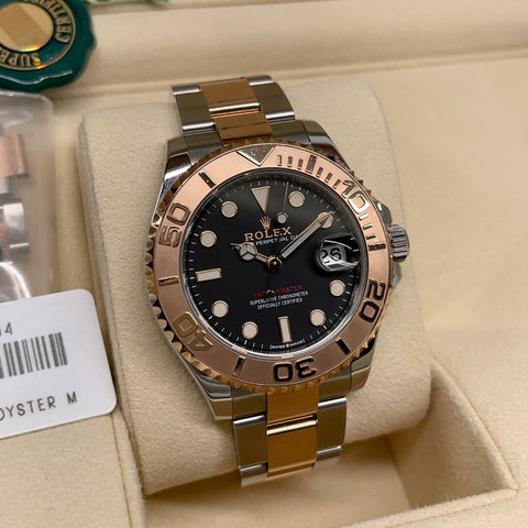 2020 Rolex Yachtmaster 268261 Everose Black Steel Oyster Wristwatch Box Papers