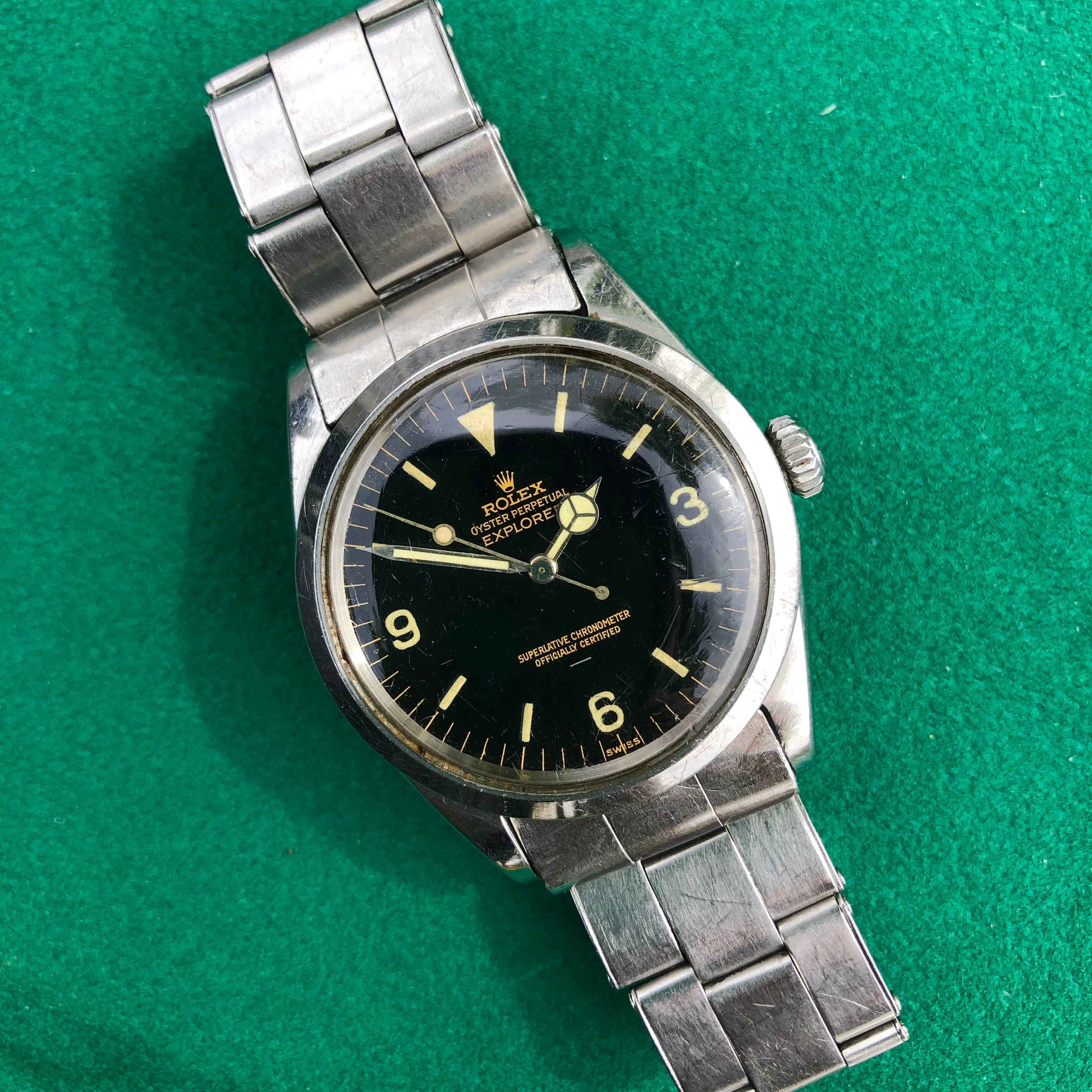 Vintage Rolex Explorer 1016 Gilt Underline Glossy Oyster Perpetual Wristwatch Circa 1963 - Hashtag Watch Company