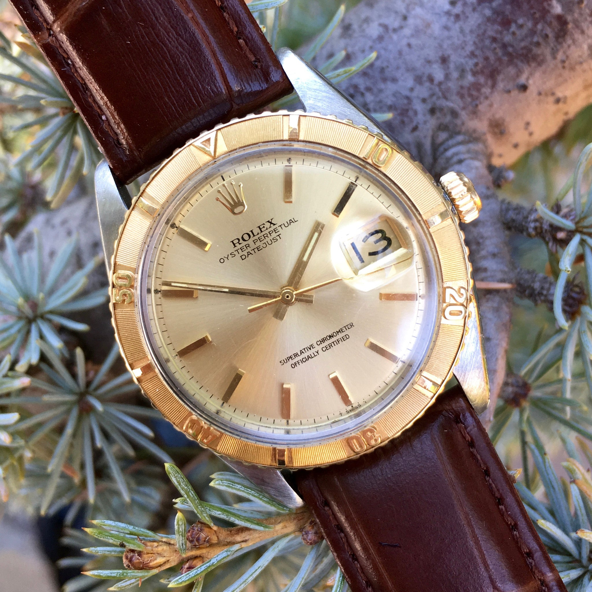 Vintage Rolex Thunderbird Datejust 1625 Champagne Two Tone 14K Steel 1964 Cal. 1570 Watch - Hashtag Watch Company
