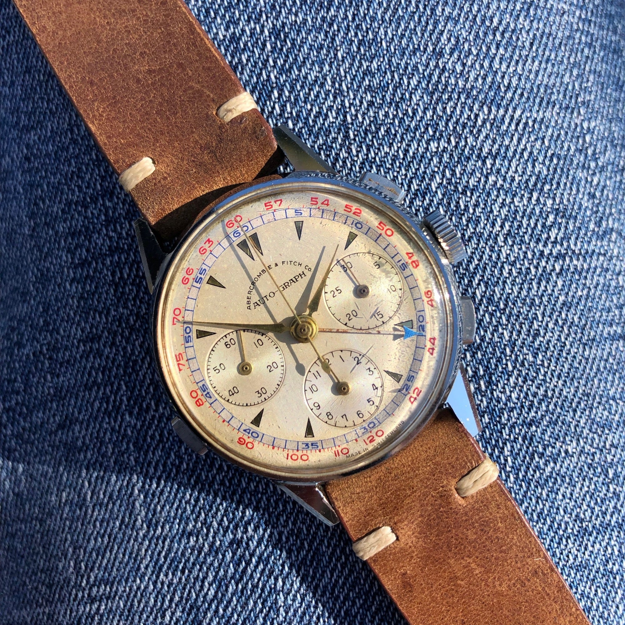 Vintage Heuer Abercrombie Fitch Co Auto Graph Valjoux 72 Chronograph Steel Wristwatch - Hashtag Watch Company