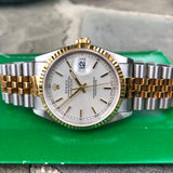 Rolex Datejust 16233 Silver Steel Gold Two Tone Jubilee Automatic Wristwatch Box Papers Circa 1995 - Hashtag Watch Company