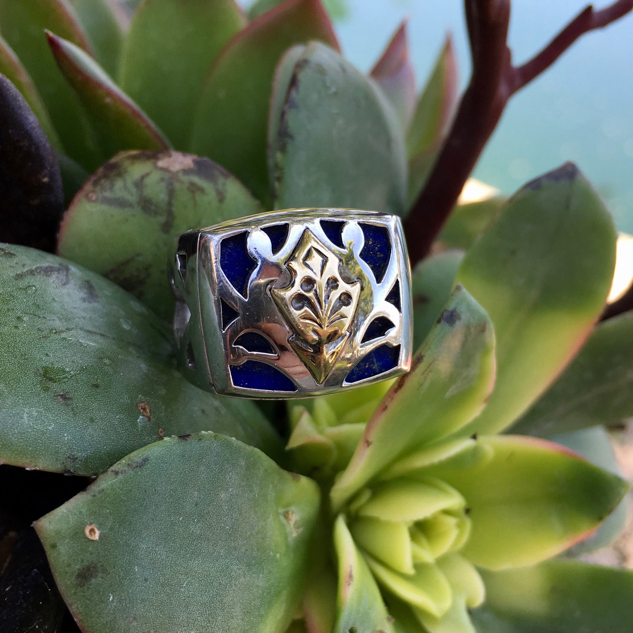 Stephen Webster Raven Head Men's Gold Sterling Silver & Lapis Ring - Hashtag Watch Company