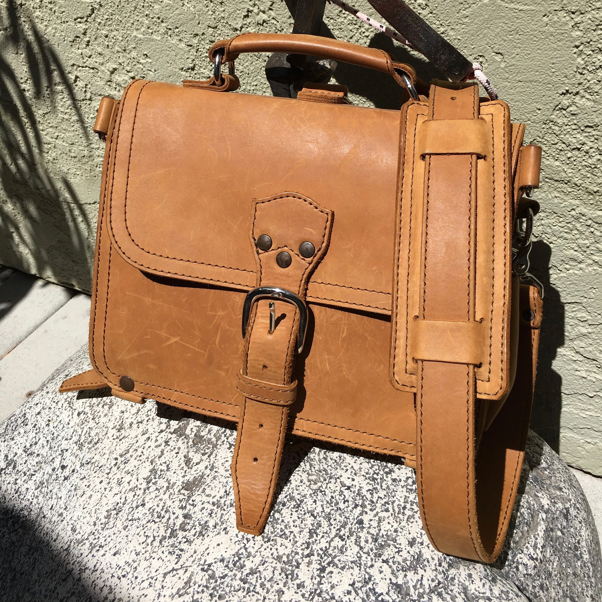 Saddleback Leather Company Tan Leather Tobacco Small Shoulder Bag