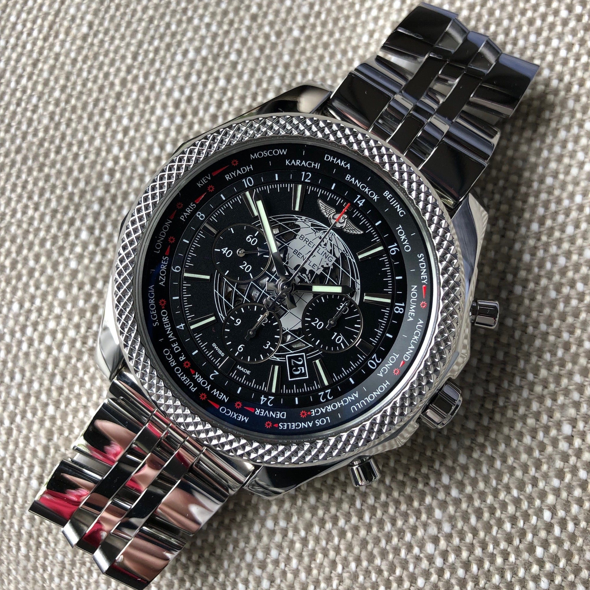 Breitling for Bentley AB0521U4 B05 Unitime Stainless Steel Chronograph 49mm Automatic Wristwatch - Hashtag Watch Company
