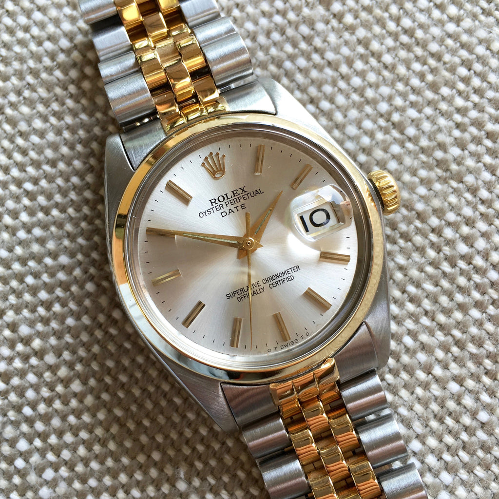 Vintage Rolex Date 1500 Two Tone Steel 18K Jubilee Cal. 1560 1964 Silver Stick Watch