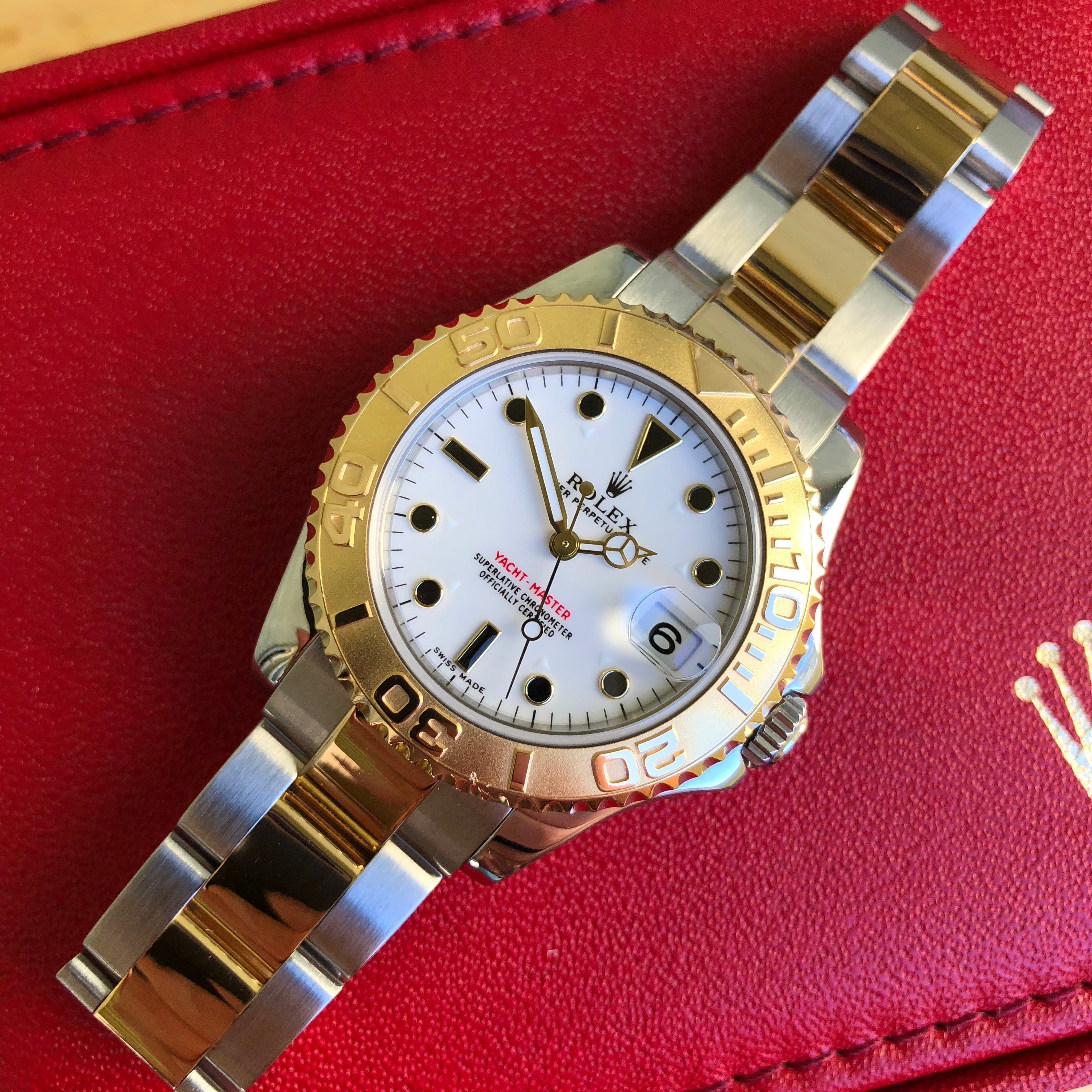 Rolex Yachtmaster 168623 Two Tone Steel Gold 35mm Mid Size White Oyster Wristwatch Box Papers - Hashtag Watch Company