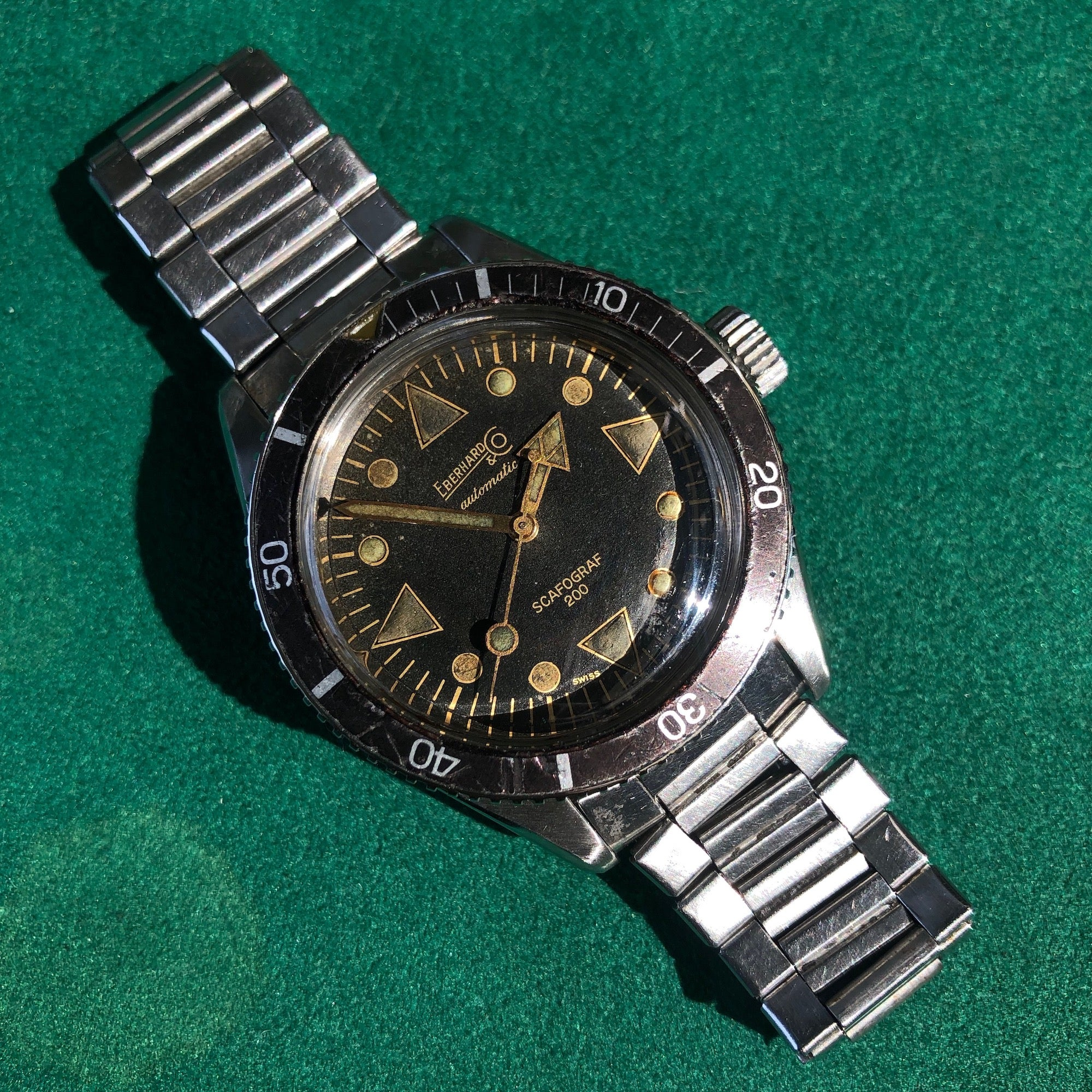 Vintage Eberhard & Co. Scafograf 200 Stainless Steel 11536 Automatic Divers Wristwatch - Hashtag Watch Company