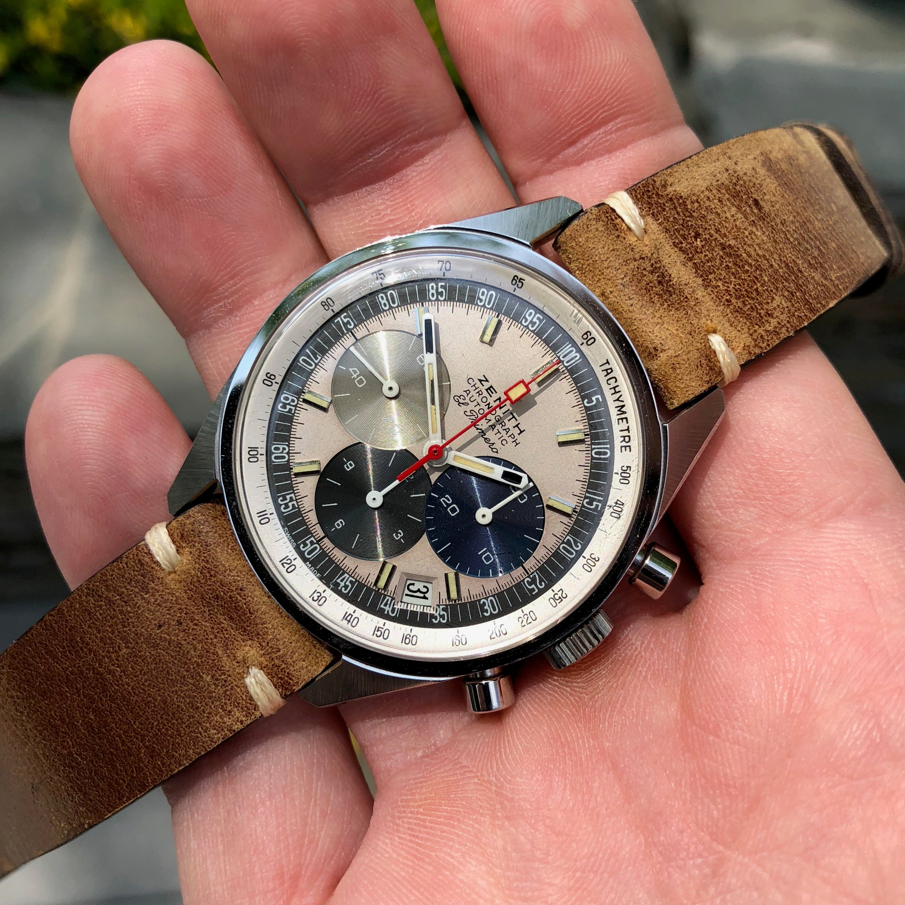 Vintage Zenith El Primero A386 Steel Chronograph Automatic Gay Freres Wristwatch - Hashtag Watch Company