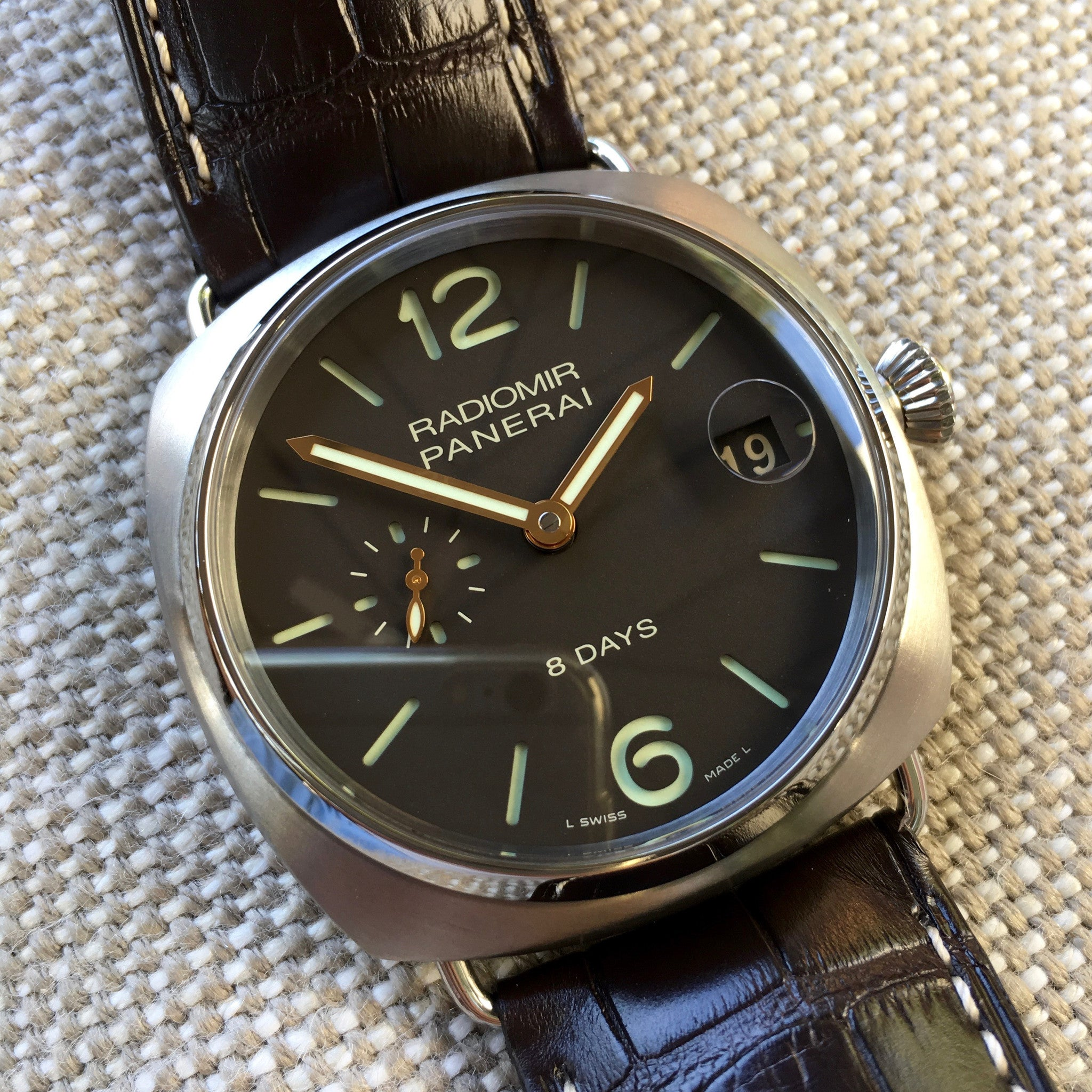Panerai Radiomir PAM 346 Titanium 8 Days 45mm Brown Leather Wristwatch - Hashtag Watch Company