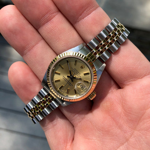Rolex Datejust 69173 Ladies Two Tone Champagne Stick Dial Steel 18K Gold Jubilee Wristwatch Box & Papers