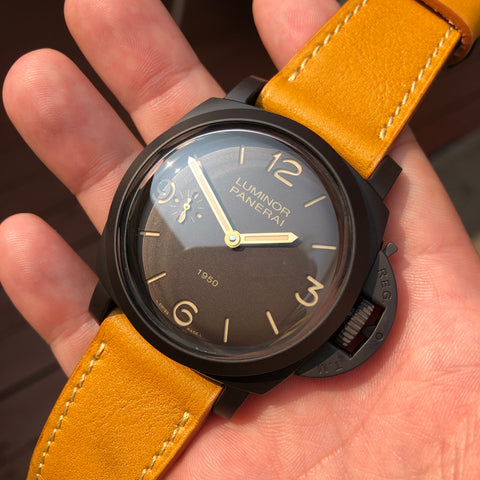 Panerai Luminor 1950 Composite 3 Days PAM 375 47mm Ceramic Wristwatch Box Papers
