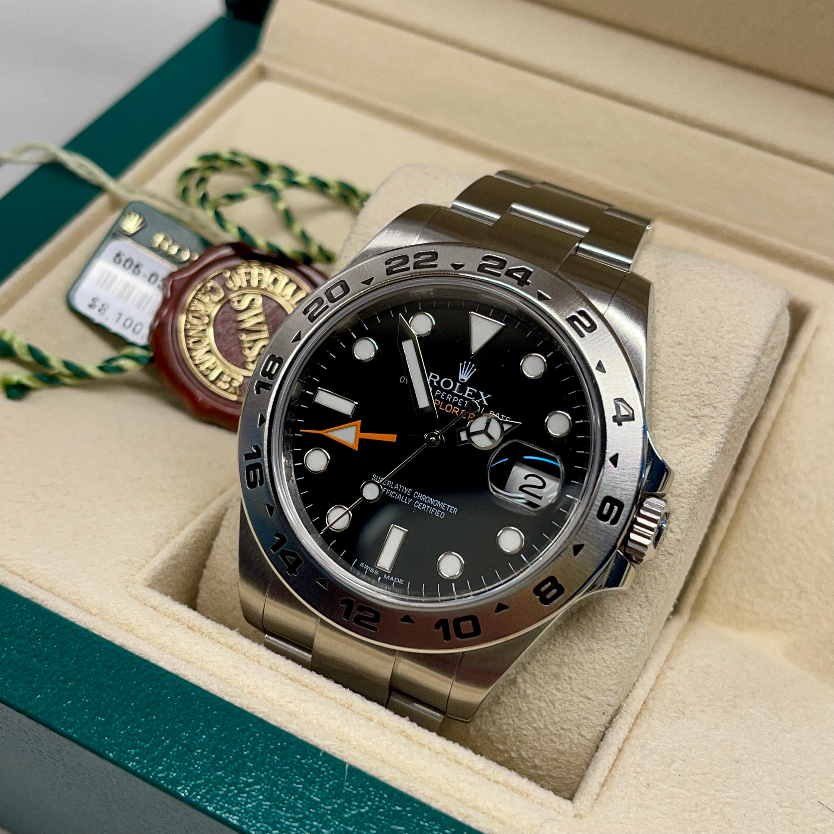 2014 Rolex Explorer II 216570 Stainless Steel GMT Oyster Black Wristwatch Box Papers - Hashtag Watch Company