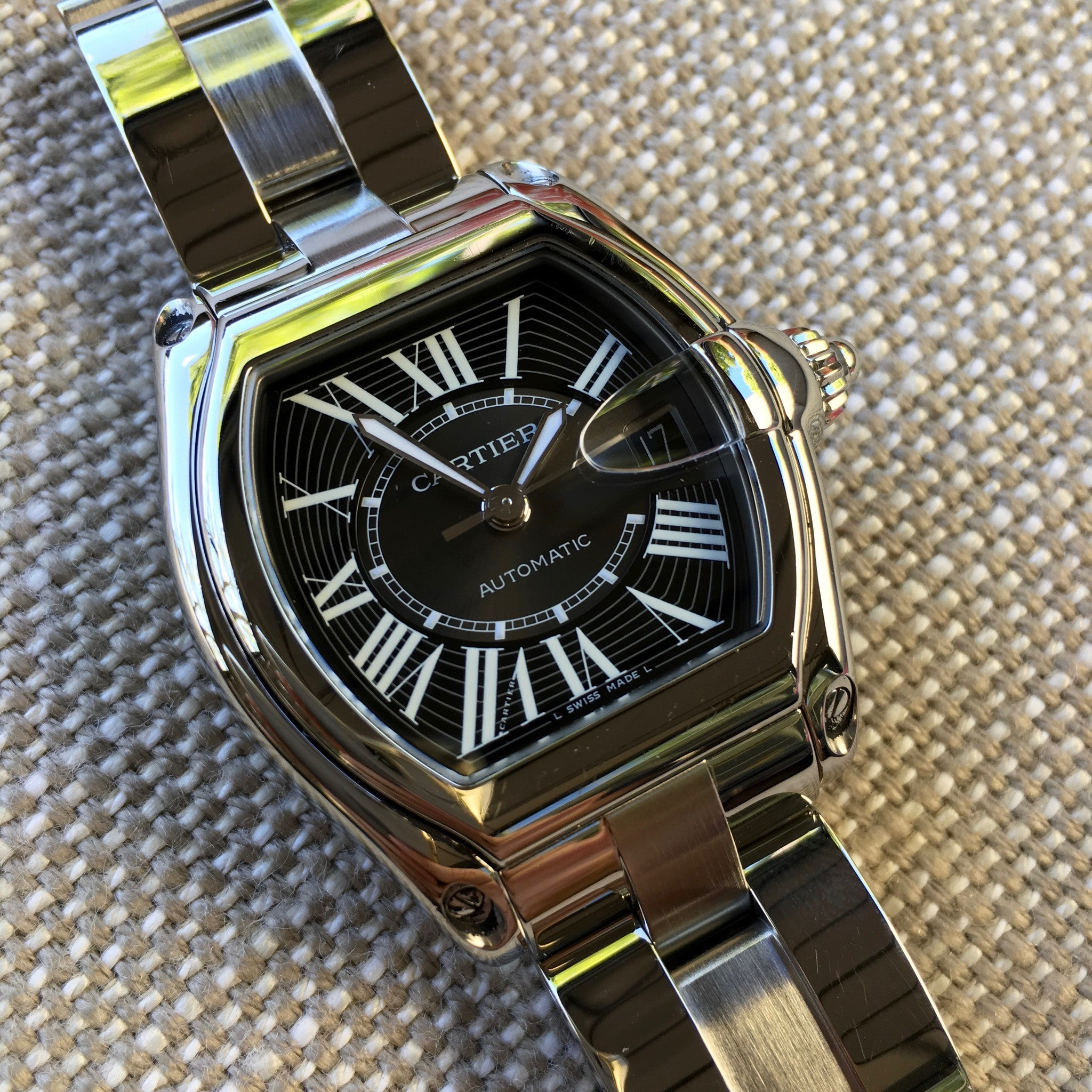 Cartier Roadster XL 2510 Steel Roman Large Size Black Automatic Watch - Hashtag Watch Company